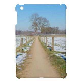 Sandpath zwischen schneebedeckten Wiesen im iPad Mini Hüllen