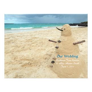 Sandsnowman-Strand-Hochzeits-Programm-Flyer 21,6 X 27,9 Cm Flyer