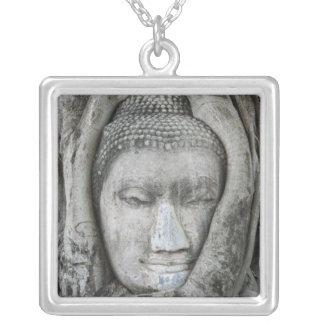 Sandsteinkopf von Buddha umgab durch Baum Versilberte Kette
