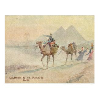 Sandsturm an den Pyramiden Postkarte