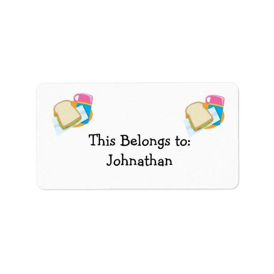 Sandwich- und Mittagessenvektorentwurf Adressaufkleber