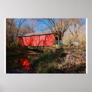 Sandy-Nebenfluss-überdachte Brücke, Missouri Poster