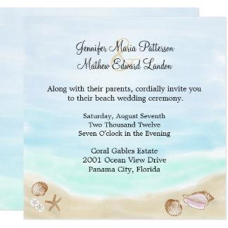 Sandy-Strand-Hochzeits-Einladung Quadratische 13,3 Cm Einladungskarte