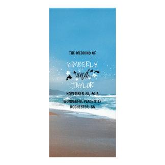 Sandy-Strand-Hochzeits-Programme Werbekarte