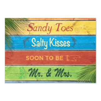 Sandy Toes salzige Küsse, Proben-, dieabendessen 12,7 X 17,8 Cm Einladungskarte