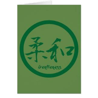 Sanftheits-Kanji-Mitteilungskarten | grünes Kamon Karte