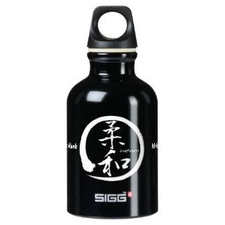 Sanftheits-Kanji-Wasserflasche mit weißem enso Aluminiumwasserflasche