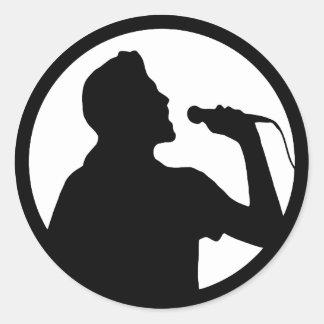 Sänger-Ikone - Karaoke-Logo Runder Aufkleber