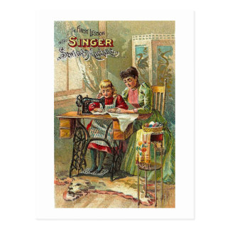 """Sänger-Nähmaschine-Anzeige """"die erste Lektion """" Postkarte"""