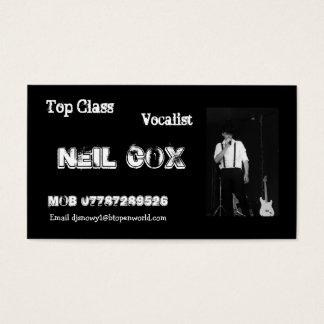 Sänger Neil Cox Visitenkarte