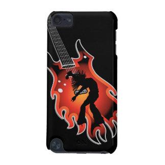 Sänger-u. Tänzer-Silhouette auf Flammen-Gitarre iPod Touch 5G Hülle