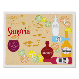 Sangria-Rotwein-Cocktail Poster