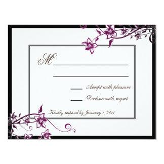 Sangria-weißes Blumenblüten-Hochzeits-Warte-UAWG 10,8 X 14 Cm Einladungskarte