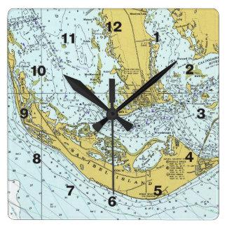 Sanibel Insel Captiva Seekarte Quadratische Wanduhr