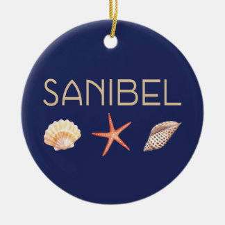 Sanibel InselSeashells auf Blau Keramik Ornament