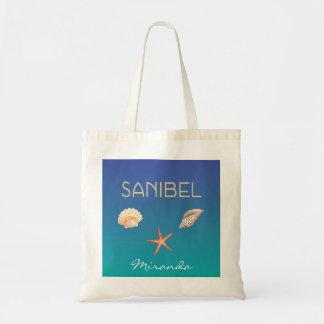 Sanibel mit Seashells und individuellem Namen Budget Stoffbeutel