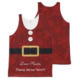 Sankt-Anzugs-Weihnachtslustige Typografie Komplett Bedrucktes Tanktop
