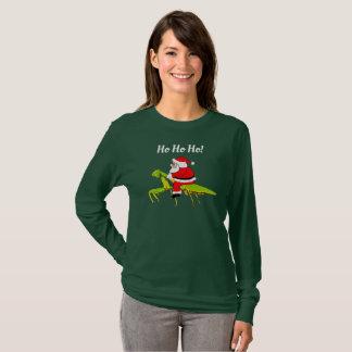 Sankt auf betender Mantis-lustigem WeihnachtsT - T-Shirt