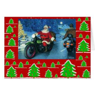 Sankt auf einem Motorrad/chrstmas Bäumen Karte