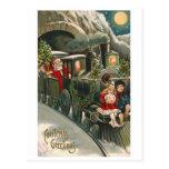 """""""Sankt auf einem Zug"""" Vintage Weihnachtspostkarte Postkarten"""