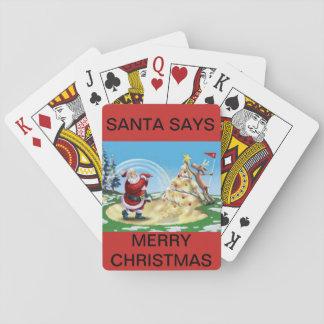 Sankt, die auf einer Plattform der Spielkarten