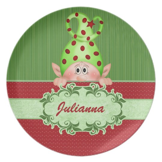 Sankt Elf-personalisiertes Weihnachten Teller