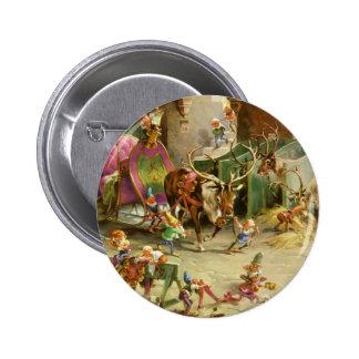 Sankt ElvesPrepare sein Pferdeschlitten auf Weihna Runder Button 5,1 Cm
