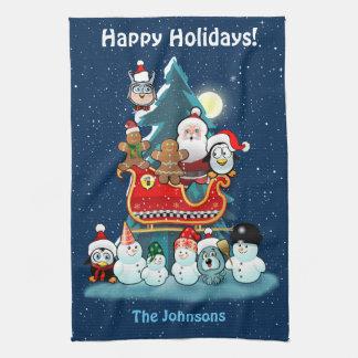 Sankt Feiertags-Party durch den Weihnachtsbaum Handtuch