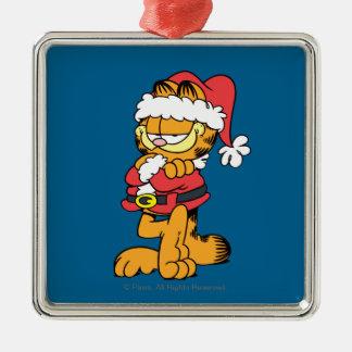 Sankt Garfield Quadratisches Silberfarbenes Ornament
