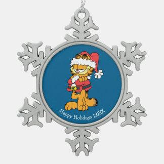 Sankt Garfield Schneeflocken Zinn-Ornament