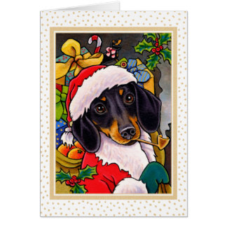 Sankt-HundeDackel-Weihnachtskarte Karte