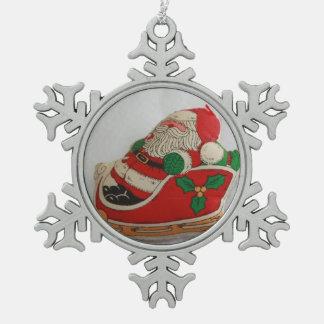Sankt in einer Pferdeschlitten-Zinn-Verzierung Schneeflocken Zinn-Ornament