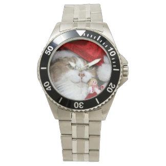 Sankt-Katze - Weihnachtskatze - niedliche Kätzchen Uhr