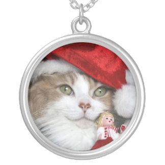 Sankt-Katze - Weihnachtskatze - niedliche Kätzchen Versilberte Kette
