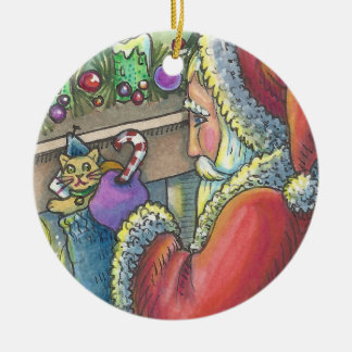Sankt-kleines Geschenk WEIHNACHTSverzierung Rundes Keramik Ornament