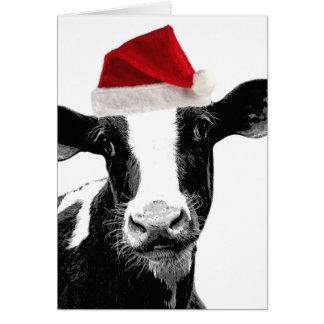 Sankt-Kuh - Milchkuh-tragende Weihnachtsmannmütze Karte