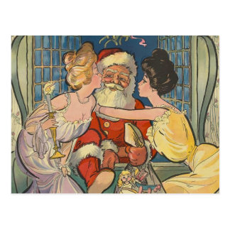 Sankt küsst Vintages Weihnachten Postkarte