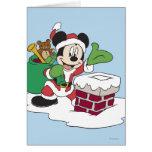 Sankt Mickey, der Kamin hinuntergeht Grußkarte