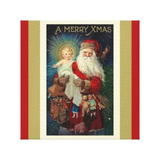 Sankt mit Christus-Kind spielt Sankt Nikolaus Leinwanddruck