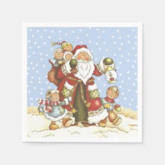 Sankt mit Laternen-Kindern in fallendem Schnee Serviette