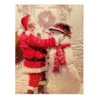 Sankt mit Schneemann Postkarte