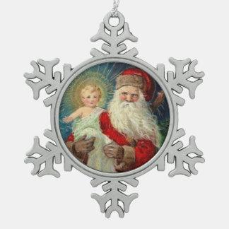 Sankt Nikolaus des Myra Bischofs-Babys Jesus Schneeflocken Zinn-Ornament
