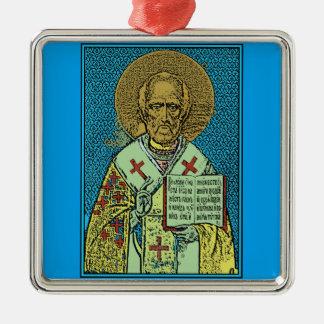 Sankt Nikolaus [Farbe] Quadratisches Silberfarbenes Ornament