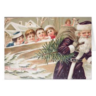 Sankt Nikolaus mit Baum und Kinder Vintag Karte