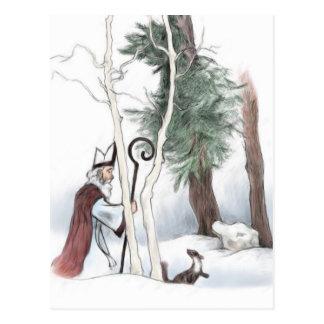 Sankt Nikolaus und der Kiefern-Marder Postkarte