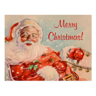 Sankt-Pferdeschlitten-Fahrweihnachtspostkarte Postkarte