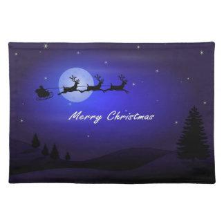 Sankt-Pferdeschlitten-Mond-frohe Weihnachten Tischset