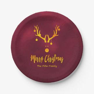 Sankt Ren Rudolph im Imitatgold auf Burgunder Pappteller