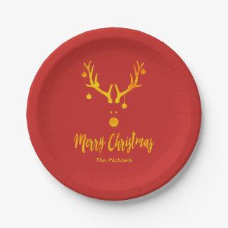 Sankt Ren Rudolph im Imitatgold auf Rot Pappteller