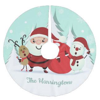 Sankt-, Ren- u. Snowman-Namebaumrock Polyester Weihnachtsbaumdecke